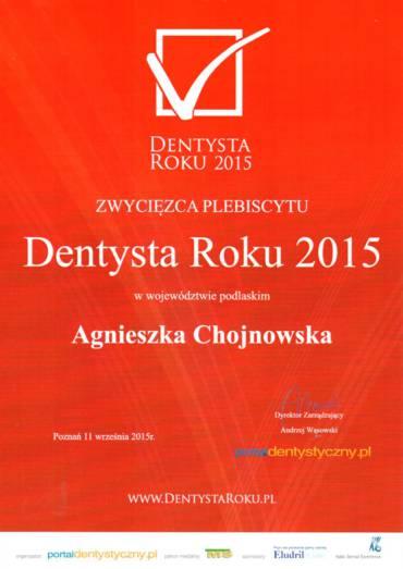 dr Agnieszka Chojnowska Dentystką Roku 2015
